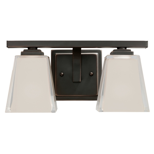 Kichler Lighting Kichler Modern Bathroom Light with Grey Glass in Olde Bronze Finish 5460OZ