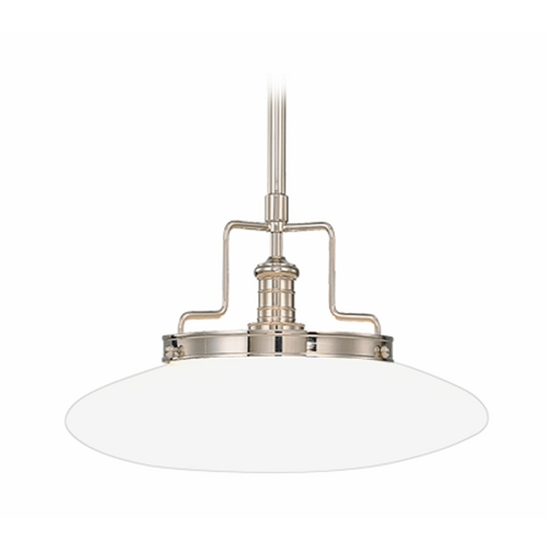 Hudson Valley Lighting Modern Pendant Light with White Glass in Polished Nickel Finish 4222-PN