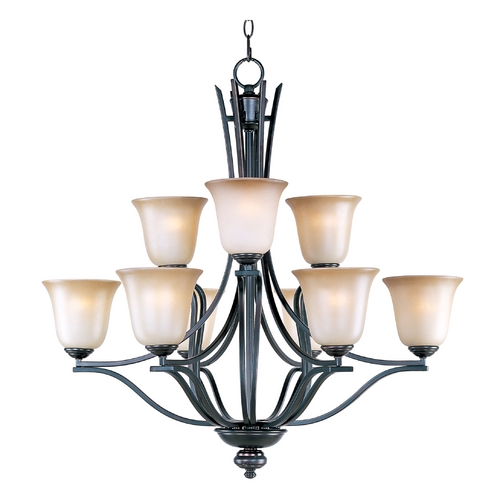 Maxim Lighting Chandelier with Beige / Cream Glass in Oil Rubbed Bronze Finish 10177WSOI