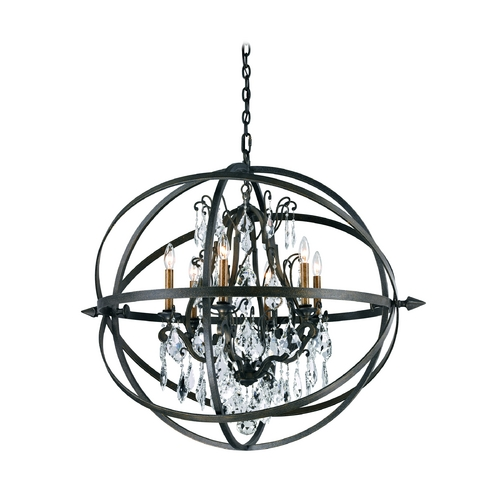 Troy Lighting Modern Crystal Orb Pendant Chandelier Light in Bronze Finish F2997