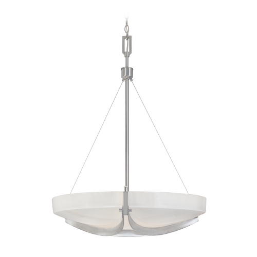 Designers Fountain Lighting Pendant Light with White Glass in Satin Platinum Finish 83031-SP