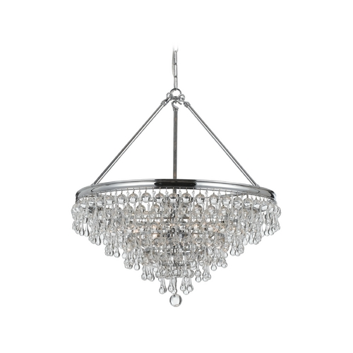 Crystorama Lighting Crystal Pendant Light in Polished Chrome Finish 136-CH