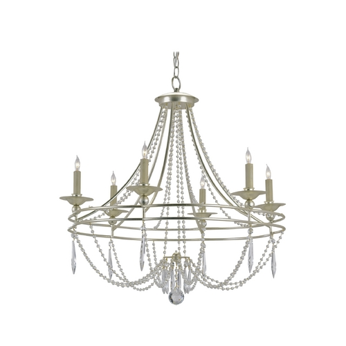 Currey and Company Lighting Chandelier in Silver Granello Finish 9161