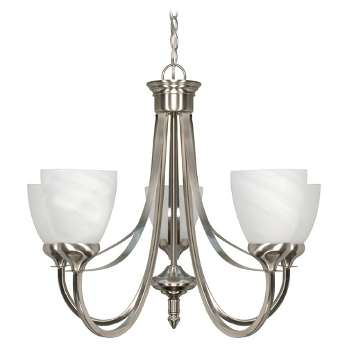 Nuvo Lighting Modern Chandelier with Alabaster Glass in Brushed Nickel Finish 60/585
