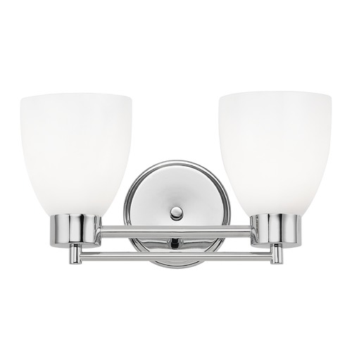 Design Classics Lighting Modern Bathroom Light with White Glass in Chrome Finish 702-26 GL1024MB