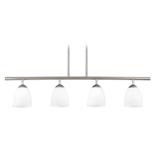 Design Classics Lighting Modern Island Light with White Glass in Satin Nickel Finish 718-09 GL1024MB