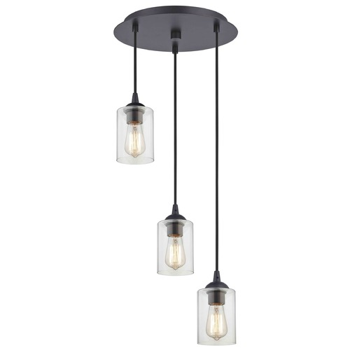 Design Classics Lighting Bronze Multi-Light Pendant with Clear Cylinder Glass and 3-Lights 583-220 GL1040C