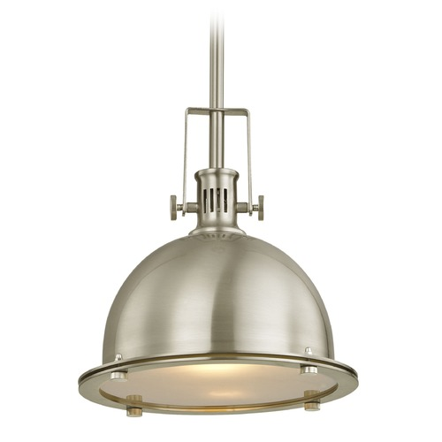 Design Classics Lighting Design Classics Vaughn Satin Nickel Pendant Light with Bowl / Dome Shade 701-09