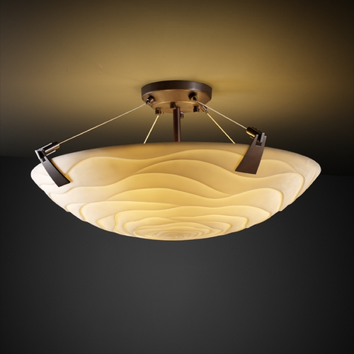 Justice Design Group Justice Design Group Porcelina Collection Semi-Flushmount Light PNA-9632-35-WAVE-DBRZ