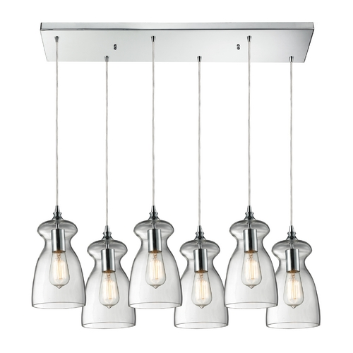Elk Lighting Multi-Light Pendant Light with Clear Glass and 6-Lights 60053-6RC