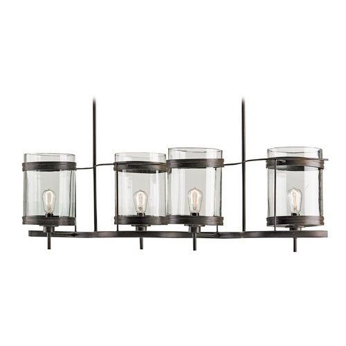 Currey and Company Lighting Currey and Company Lighting Bronze Gold Island Light with Cylindrical Shade 9310