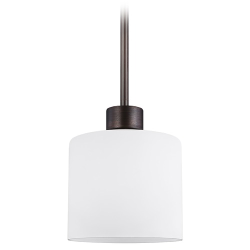 Sea Gull Lighting Sea Gull Lighting Canfield Burnt Sienna Mini-Pendant Light with Cylindrical Shade 6128801-710