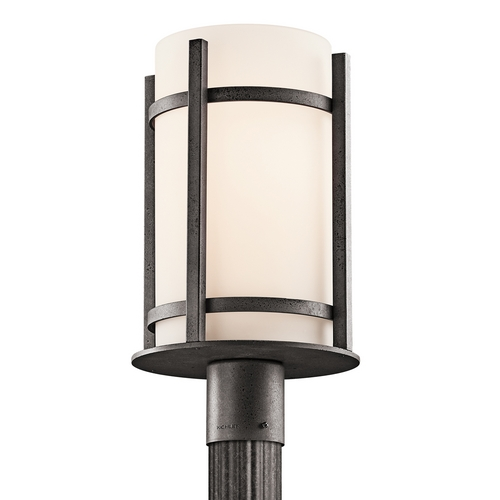 Kichler Lighting Kichler Post Light with White Glass in Anvil Iron Finish 49123AVI