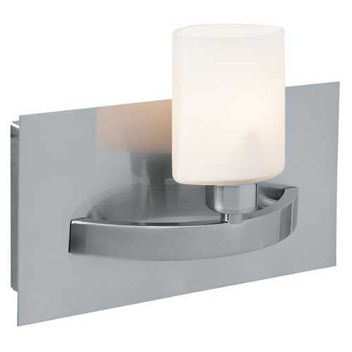 Access Lighting Modern Sconce with White Glass in Brushed Steel Finish 53301-BS/OPL