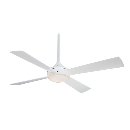 Minka Aire Modern Ceiling Fan with Light with White Glass F521-WHF