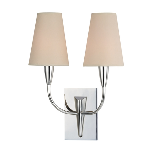 Hudson Valley Lighting Sconce Wall Light with Beige / Cream Paper Shades in Polished Chrome Finish 2412-PC