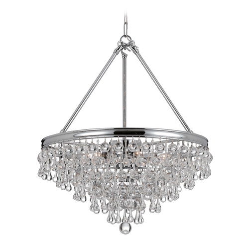 Crystorama Lighting Crystal Pendant Light in Polished Chrome Finish 137-CH