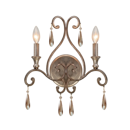 Crystorama Lighting Crystal Sconce Wall Light in Distressed Twilight Finish 7522-DT