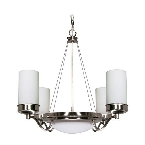Nuvo Lighting Modern Chandelier with White Glass in Brushed Nickel Finish 60/607