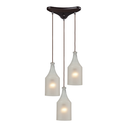 Elk Lighting Multi-Light Pendant Light with White Glass and 3-Lights 46005/3