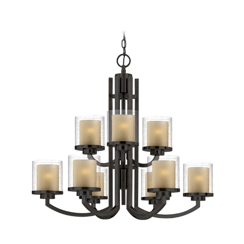 Dolan Designs Lighting Modern Chandelier with Amber Glass in Bolivian Bronze Finish 2952-78