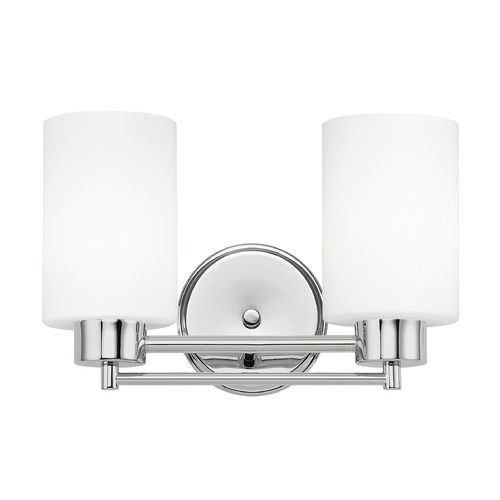 Design Classics Lighting Modern Bathroom Light with White Glass in Chrome Finish 702-26 GL1028C