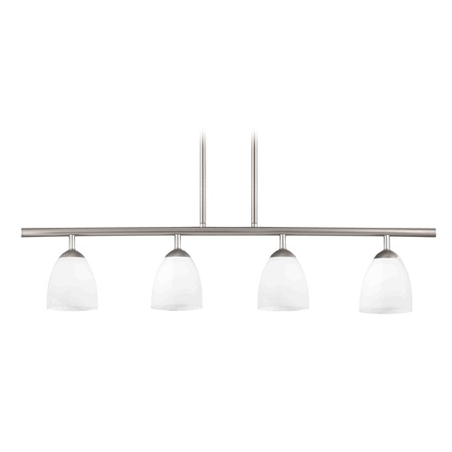 Design Classics Lighting Modern Island Light with White Glass in Satin Nickel Finish 718-09 GL1028MB