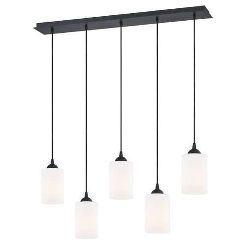 Design Classics Lighting 36-Inch Linear Pendant with 5-Lights in Matte Black Finish with Satin White Glass 5835-07 GL1028C