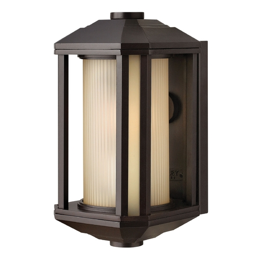 Hinkley Lighting Outdoor Wall Light with Amber Glass in Bronze Finish 1396BZ-GU24