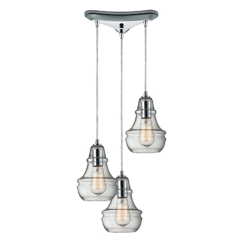 Elk Lighting Multi-Light Pendant Light with Clear Glass and 3-Lights 60057-3