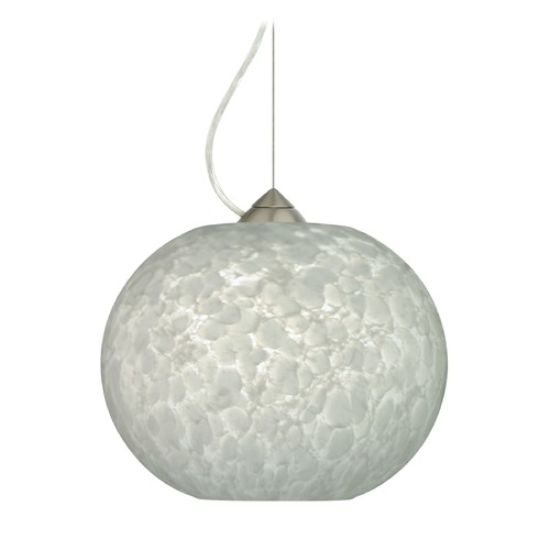 Besa Lighting Besa Lighting Luna Satin Nickel LED Pendant Light with Globe Shade 1KX-477619-LED-SN