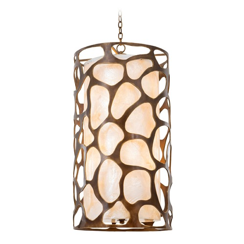 Kalco Lighting Kalco Gramercy Copper Patina Pendant Light with Cylindrical Shade 501952CP