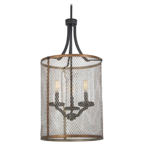 Minka Lavery Minka Lavery Smoked Iron with Aged Gold Pendant Light with Cylindrical Shade 4692-107