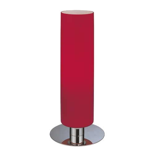 George Kovacs Lighting Modern Table Lamp with Red Glass in Chrome Finish P664-077