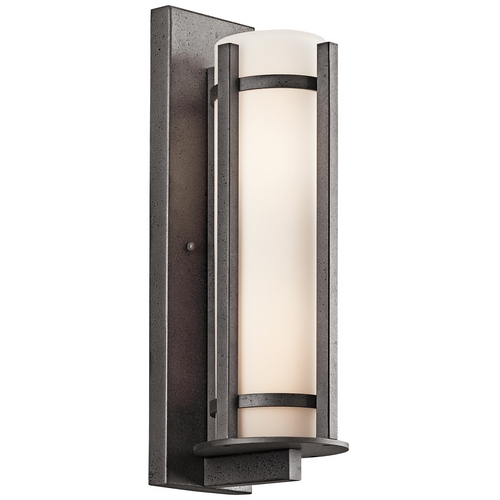 Kichler Lighting Kichler Outdoor Wall Light with White Glass in Anvil Iron Finish 49122AVI