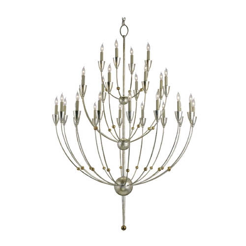 Currey and Company Lighting Modern Chandelier in Silver Granello Finish 9159