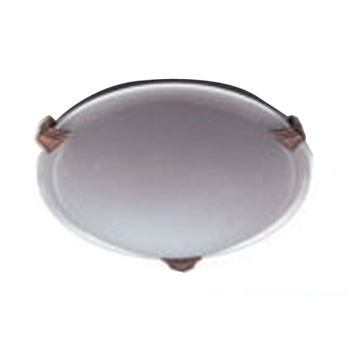 PLC Lighting Modern Flushmount Light with White Glass in Natural Iron Finish 6519  IR