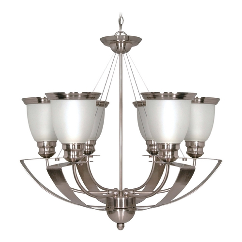 Nuvo Lighting Modern Chandelier with White Glass in Brushed Nickel Finish 60/616