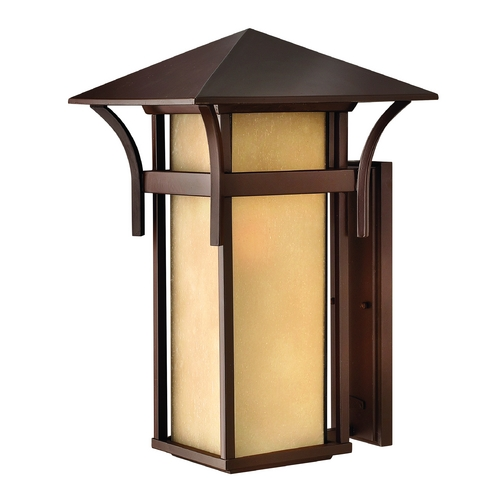 Hinkley Etched Amber Seeded Glass Outdoor Wall Light Bronze Hinkley 2579AR