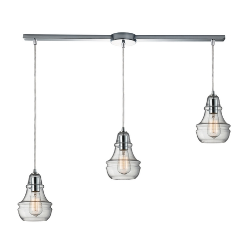Elk Lighting Multi-Light Pendant Light with Clear Glass and 3-Lights 60057-3L