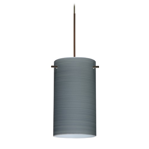 Besa Lighting Besa Lighting Stilo 7 Bronze Mini-Pendant Light with Cylindrical Shade 1XT-4404TN-BR
