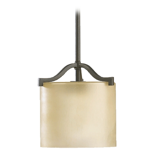 Quorum Lighting Quorum Lighting Atwood Oiled Bronze Mini-Pendant Light with Cylindrical Shade 3096-86