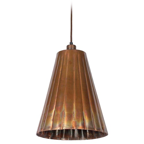 Kenroy Home Lighting Kenroy Home Lighting Flute Flamed Copper Mini-Pendant Light with Empire Shade 93018FCOP