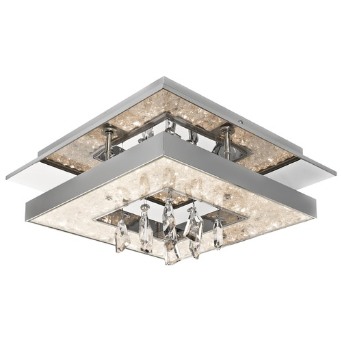 Elan Lighting Elan Lighting Crushed Ice Chrome LED Flushmount Light 83431