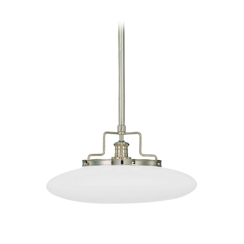 Hudson Valley Lighting Modern Pendant Light with White Glass in Polished Nickel Finish 4228-PN