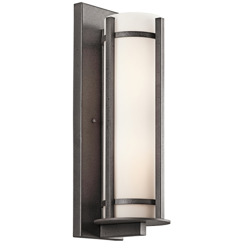 Kichler Lighting Kichler Outdoor Wall Light with White Glass in Anvil Iron Finish 49120AVI