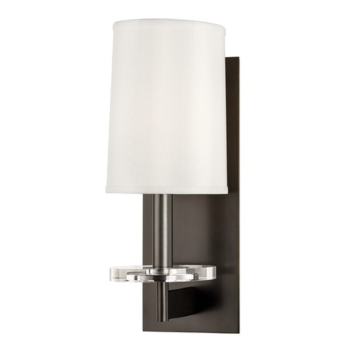 Hudson Valley Lighting Modern Sconce Wall Light with White Shade in Old Bronze Finish 8801-OB