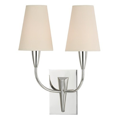 Hudson Valley Lighting Sconce Wall Light with Beige / Cream Paper Shades in Polished Nickel Finish 2412-PN