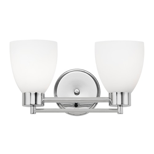 Design Classics Lighting Modern Bathroom Light with White Glass in Chrome Finish 702-26 GL1028MB