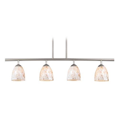 Design Classics Lighting Island Light with Beige / Cream Glass in Satin Nickel Finish 718-09 GL1026MB